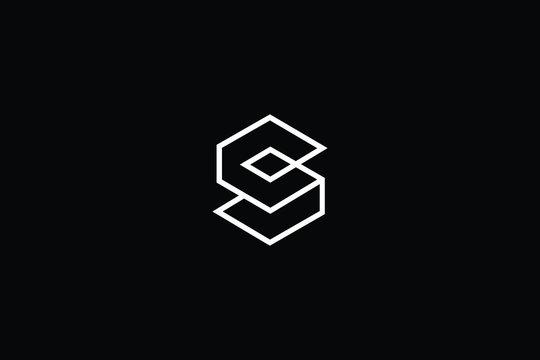 Minimal elegant monogram art logo. Outstanding professional trendy awesome artistic 3D S SC CS initial based Alphabet icon logo. Premium Business logo White color on black background