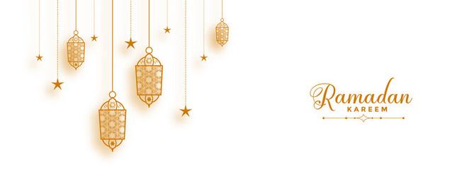 ramadan banner with decorative islamic lanterns Fototapete