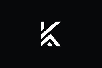 Minimal elegant monogram art logo. Outstanding professional trendy awesome artistic K KF FK initial based Alphabet icon logo. Premium Business logo White color on black background Wall mural