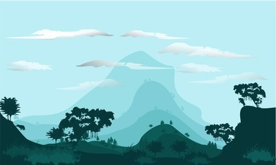 Printed kitchen splashbacks Light blue begron flat natural landscape, I made this design with Corel Draw software, I was inspired by the view from the environment around my house