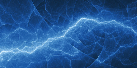 Blue abstract fractal lightning, plasma background