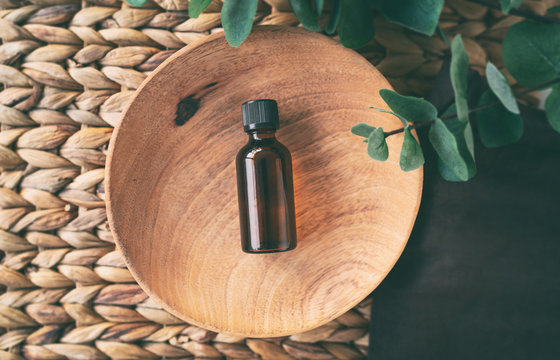 Top view of essential oil bottle of natural eucalyptus oils.