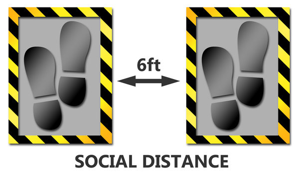 Keep distance, social distancing for 6ft