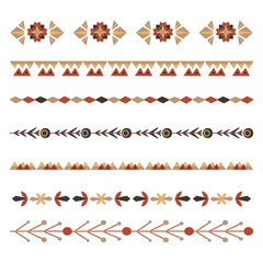 Deurstickers Boho Stijl Set of flat natural horizontal dividers. Seamless floral borders with branches and berries. Vector folk object for invitations, brushes, frames and your creativity.