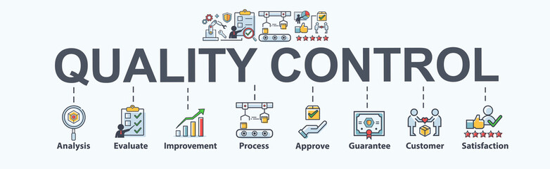Quality control banner web icon for Business and industry, analysis, quality, guarantee, process, check, approve, customer and satisfaction. Minimal vector cartoon infographic.