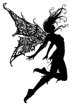 Silhouette a Beautiful and elegant fairy girl, soaring up caught in the wind , she has beautiful patterned wings, on her feet she has shoes with a pointed nose, she is dressed in a short skirt. 2D