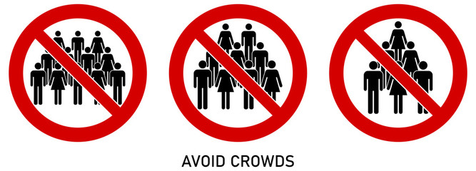 Avoid crowds social distancing sign. Group of people drawing in red crossed circle. Icon can be used during coronavirus or covid19 outbreak