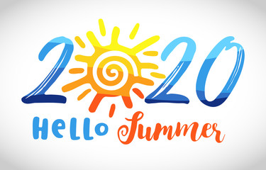 2020 sunny icon. 2020 travel logo concept. Cut number logotype with sun, creative round sign. Isolated abstract graphic design template. Decorative lettering text Hello Summer. Happy holidays symbol.