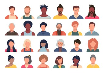 Set of persons, avatars, people heads of different ethnicity and age in flat style. Multi nationality social networks people faces collection.