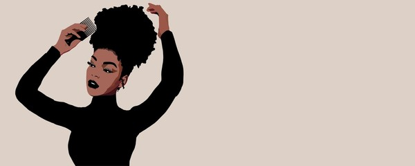 Combing afro hair with comb. Black woman. hair care. African american girl with afro hair, illustration. Black teenager.