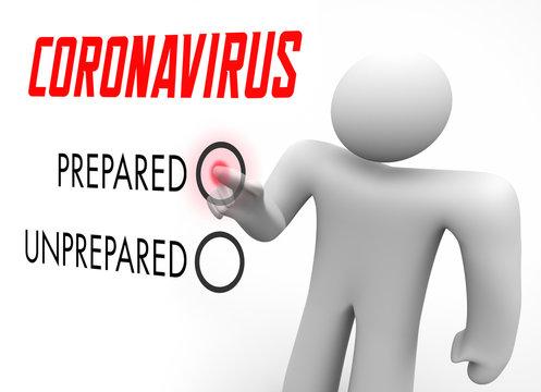 Coronavirus Are You Prepared or Unprepared Test COVID-19 3d Illustration