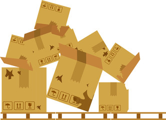 Pile of stacked sealed goods cardboard boxes. Flat style vector illustration isolated on white background. Damaged box.