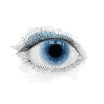 Blue vector eye with watercolor imitation stains. Realistic eye iris. Illustration for cosmetology, ophthalmology clinic, extensions eyelashes. Vector, EPS 10