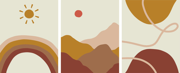 Abstract minimalist organic earth tones design set, vector