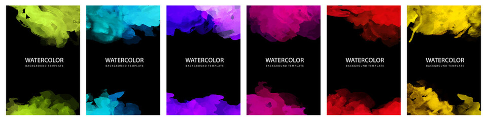 Big set of bright vector colorful watercolor on vertical black A4 background for booklet or brochure Wall mural