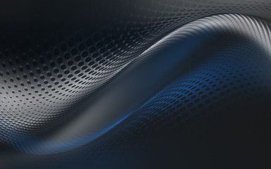 Wall Mural - Awesome blue and black halftone background. Futuristic motion dots perspective backdrop.