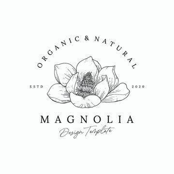 Elegant hand drawn floral logo Premium Vector Design Template