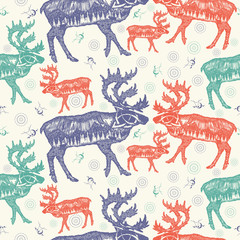 Reindeer double exposure. Seamless pattern. Packing old paper, scrapbooking style. Vintage background. Medieval manuscript, engraving art. Symbol tourism, travel, far north. Mountains, polar light