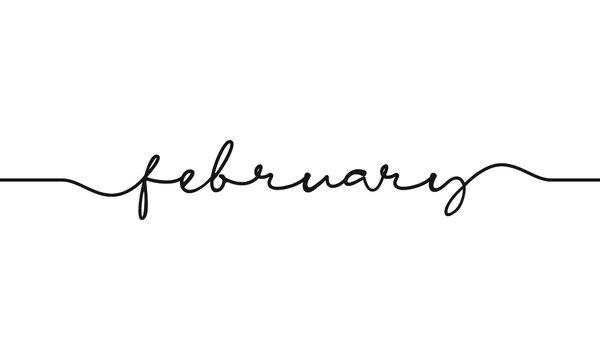 february word handwritten design vector