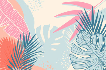 Modern tropical background. Jungle plants nature backdrop. Summer palm leaves wallpaper.