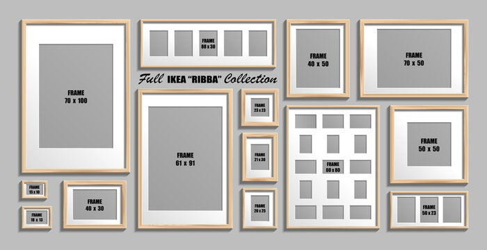 Full collection of IKEA Ribba photo frames. Real sizes. Vector set of wooden picture frames with white passepartout