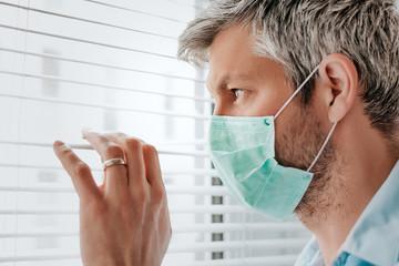 lockdown due corona virus crises with mask