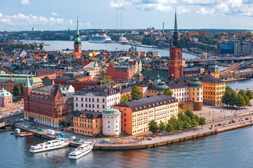 Stores photo Stockholm Scenic summer aerial view of Gamla Stan in the Old Town in Stockholm, capital of Sweden