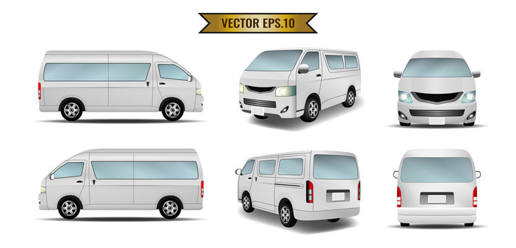 Van, minibus, taxi isolate on the background. Ready to apply to your design. Vector illustration.