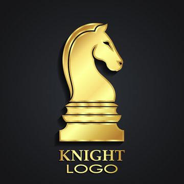 chess horse knight 3d golden logo design