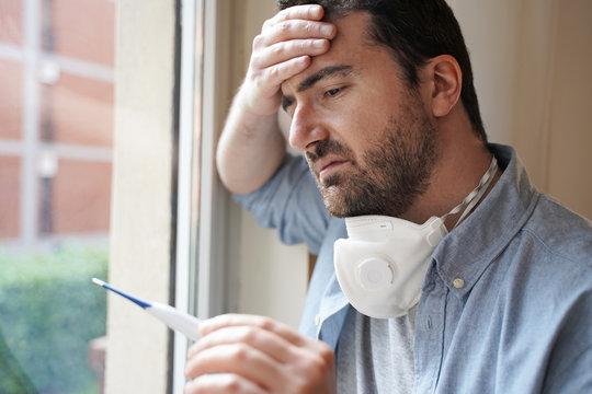 Man portrait suffering pneumonia symptoms and flu