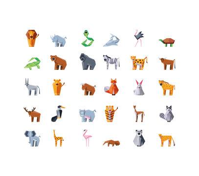 set of icons geometric wild animals