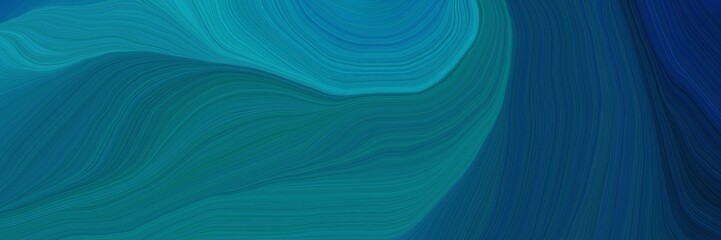 modern beautiful futuristic banner with teal, midnight blue and very dark blue color. curvy background design
