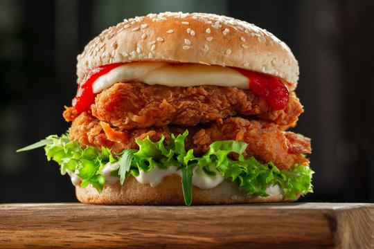 burger with crispy kentucky style chicken
