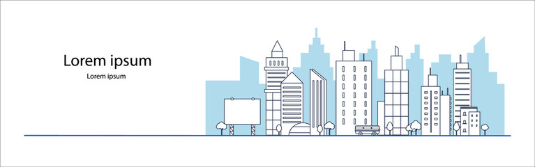 blue city building in flat line illustration vector, panoramic cityscape design for background      Wall mural