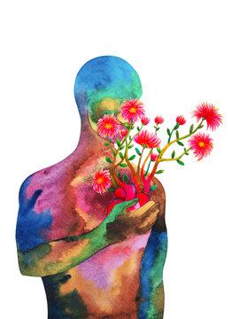 love heart mind mental kindness human art abstract spiritual health watercolor painting illustration design