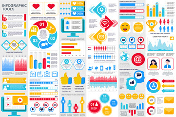 Social media infographic elements set. Social marketing and networking visualization templates bundle. Colorful info graphics diagram, stock and flow charts, line and bar graphs vector illustration.