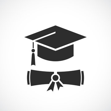 Graduation cap and education diploma vector icon