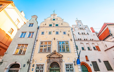 Wall Mural - Medieval three houses in Riga called The Three Brothers, Latvia