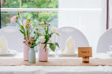 Wedding Celebration Table decoration with pink flowers