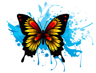 Ingelijste posters Vlinders in Grunge Vector illustration decorative butterfly with stain design