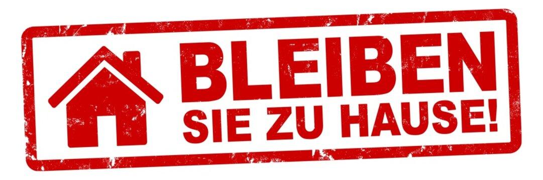 nlsb1419 NewLongStampBanner nlsb - Haus Banner - german label - Schild mit der Stempel Aufschrift: Bleiben Sie zu Hause! (zuhause bleiben / house / stay at home) - new-version - 3zu1 xxl g9335