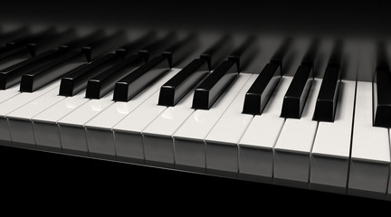 Piano with keys 3d rendering