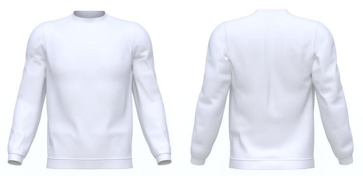 White sweatshirt Long sleeve isolated 3d rendering