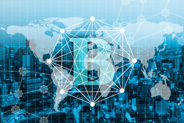 Wall Murals New York Double exposure global concept of business and technology network on city background. Element of this image furnished by NASA