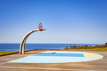 View of ocean side basketball court ground at Angel Gate Park in Los Angeles California, USA