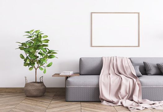 Grey comfortable couch and a rattan pot in white template interior mock up, Single A3 wood frame poster, stylish home photo, 3D rendering, illustration