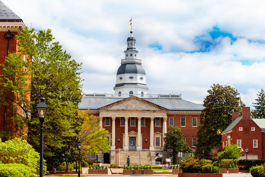 Maryland State House capitol building view from Bladen street at string, Annapolis MA, USA