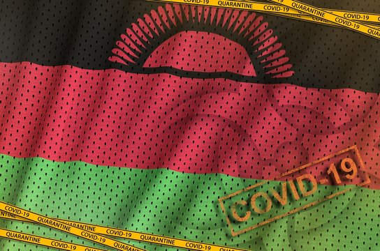 Malawi flag and Covid-19 biohazard symbol with quarantine orange tape and stamp. Coronavirus or 2019-nCov virus concept