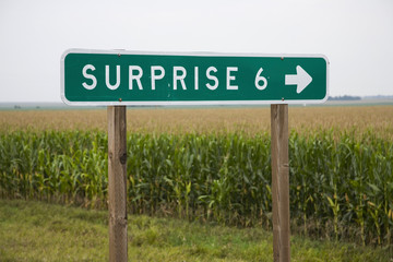 Wall Mural - Road sign pointing to Surprise, Nebraska