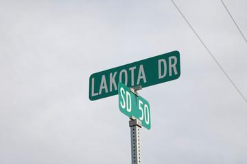 Wall Mural - Road sign for Lakota (Sioux) Indians, South Dakota
